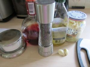 Gathering vinaigrette ingredients.