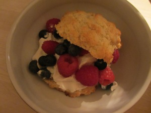 Shortcake with berries and whipped cream.