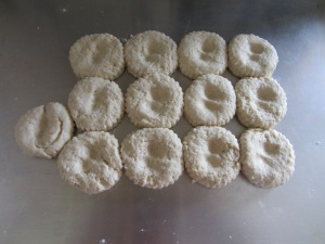 Indented biscuits pre-baking.