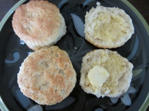 Split and buttered biscuits.