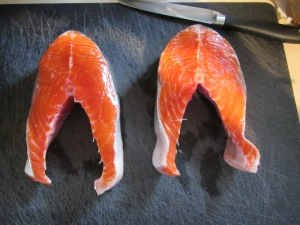 Salmon steaks.