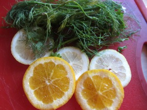 Dill, fennel, orange, and lemon.