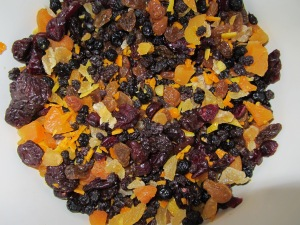 Golden raisins, currants, dried cranberries, dried blueberries, dried cherries, dried apricots, lemon zest, orange zest, and candied ginger.
