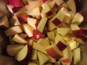 Chopped apples, tossed with cider vinegar.