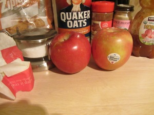 All of the ingredients for baked apples.