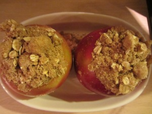 Apples topped with two layers of streusel.