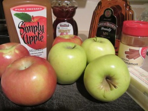Golden Delicious apples, Fuji apples, unfiltered apple juice, honey, brandy, cinnamon, and butter.