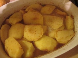 Apple mixture, after baking.