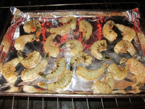 Shrimp into the oven on a pre-heated pan.