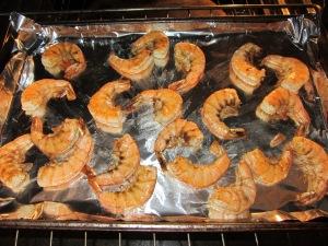 Shrimp after 2 minutes under the broiler.
