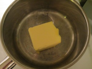 Melting butter.