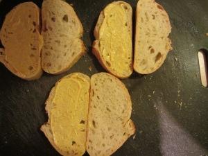Mustard on the bread.