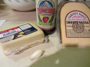 Garlic, hard cider, Gruyere, and Smoked Gouda.