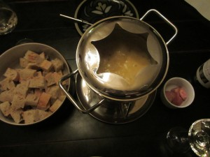 Fondue dinner spread.