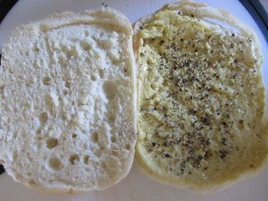 Bread with mustard and pepper.