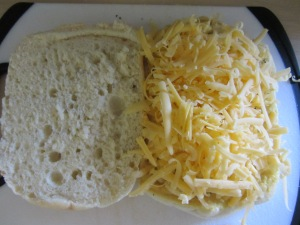 Bread with mustard, pepper, and cheese.