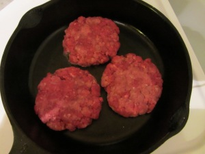 Burgers in the pan.