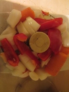 Veggies in the food processor.
