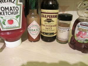 Glaze ingredients:  ketchup, hot sauce, Worcestershire sauce, cumin, and honey.