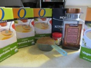 Brine ingredients:  vegetable broth, brown sugar, allspice berries, Kosher salt, and peppercorns. Not pictured:  candied ginger.