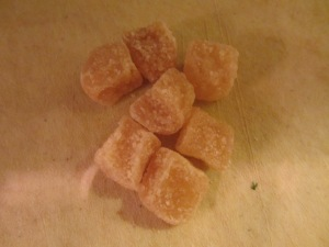 Candied ginger. I added this after my brine had cooled, as I did not have any.