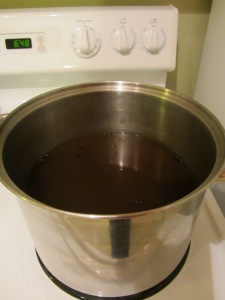 Cooled brine with candied ginger added.