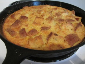 Corn bread pudding straight from the oven.
