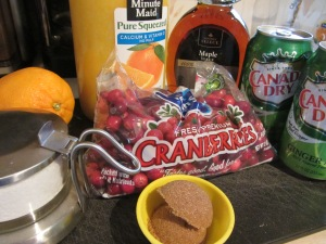 Sauce ingredients: cranberries, OJ, ginger ale, maple syrup, brown sugar, Kosher salt, and the zest of an orange.