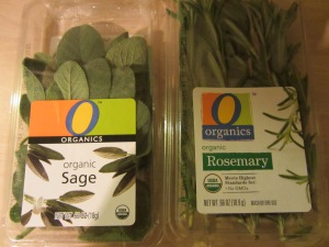 Sage and rosemary to go in turkey's cavity.