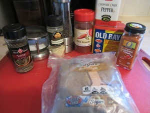 Dry rub ingredients:  light brown sugar, Kosher salt, chili powder, black pepper, cayenne pepper, chipotle seasoning, Old Bay Seasoning, thyme, and onion powder.