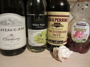 Braising liquid ingredients:  white wine, white wine vinegar, Worcestershire sauce, honey, and garlic.