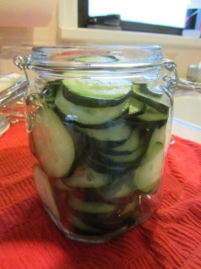 Cucumber slices in a jar. Note:  I forgot to add the onion to the jar initially, so I ended up adding it after I had put the brine in.