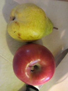 Bartlett pear and an apple.