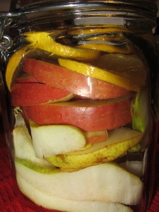 Apple, pear, ginger, and lemon in the jar.