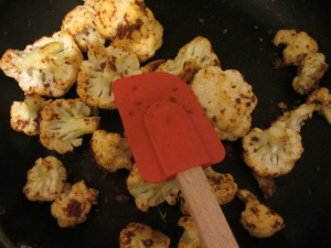 Curry-coated cauliflower.