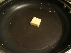 Butter in the pan.
