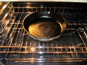 Hot cast iron skillet.