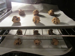 Chewy cookies in the oven.