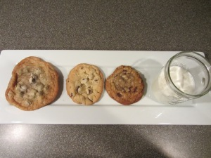 Left to right:  Alton's thin, puffy, and chewy chocolate chip cookies.