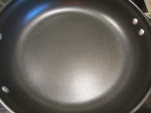 Large skillet preheating.