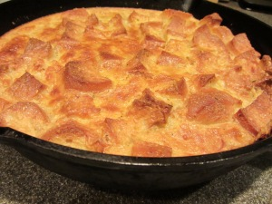 Sweet corn bread pudding.