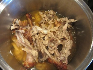 Turkey carcass after simmering for 2.5 hours.