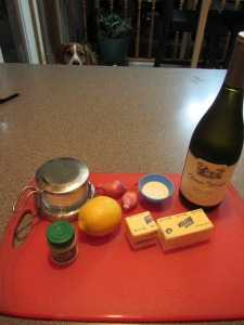 Beurre blanc ingredients:  shallots, white wine, lemon juice, heavy cream, unsalted butter, Kosher salt, and white pepper.