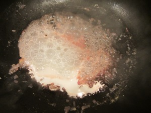 Cream bubbling, so heat turned to low.