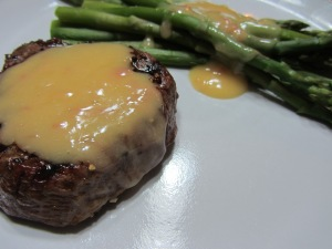 Alton's beurre blanc over a steak and asparagus.