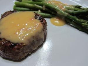 Alton's beurre blanc over a steak and asparagus.