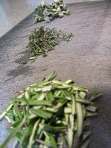 Chopped sage, thyme, and rosemary.