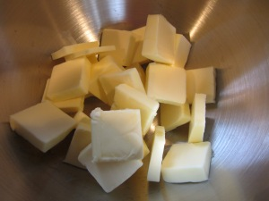 Butter chunks in mixer.