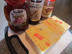 Ingredients for honey butter:  salted butter, honey, cinnamon, and vanilla extract.