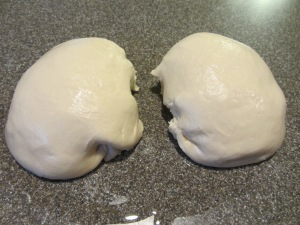 Dough bisected.